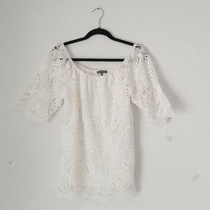 Brixton Ivy white lace tunic blouse size xs